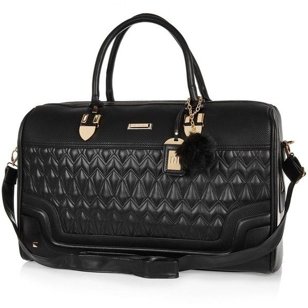 River Island Black quilted weekend bag ($120) ❤ liked on Polyvore featuring bags, handbags, bags / purses, black, make up bags / luggage, women, black key ring, black purse, black handbags and overnight bag