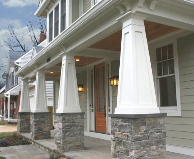 9 best images about craftsman exteriors on pinterest for Arts and crafts porch columns