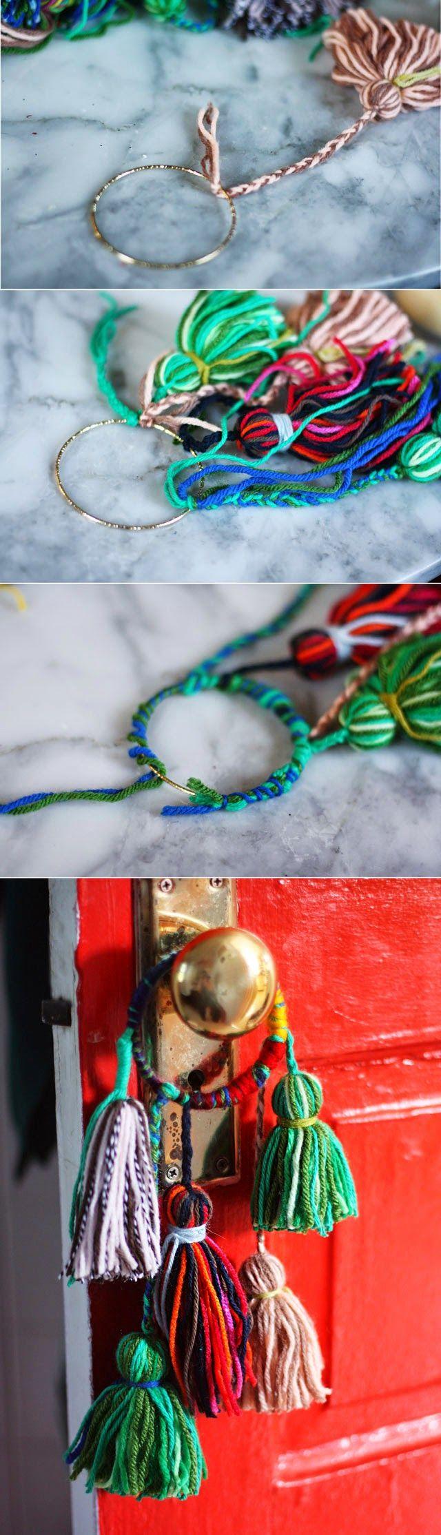 Easy DIY Yarn tassel knob bobbles.