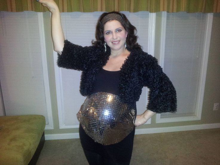 Disco Ball for Halloween! I found mirrored fabric and covered my very pregnant belly.