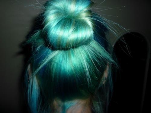 blue green hair bun