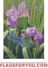 Iris Dragonflies Garden Flag