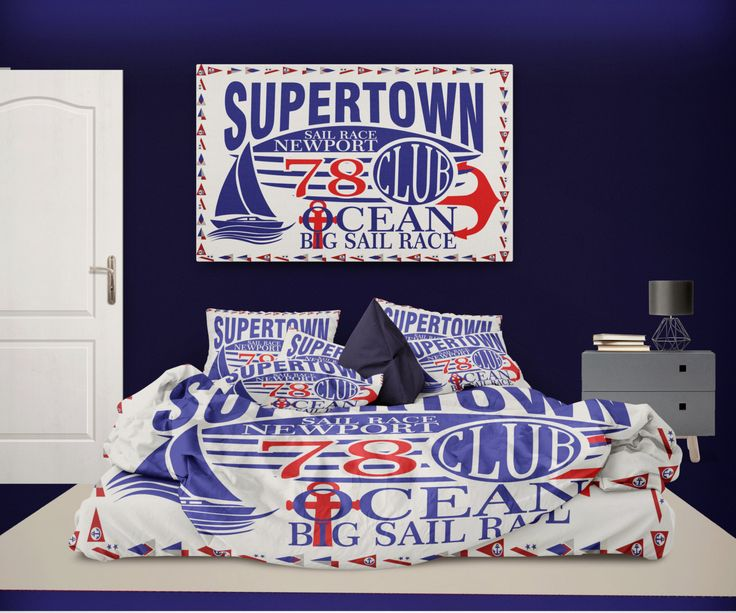 Supertown Newport Sailing Vintage Nautical Duvet Cover from Extremely Stoked Nautical Bedding Collection by NauticalBedding on Etsy