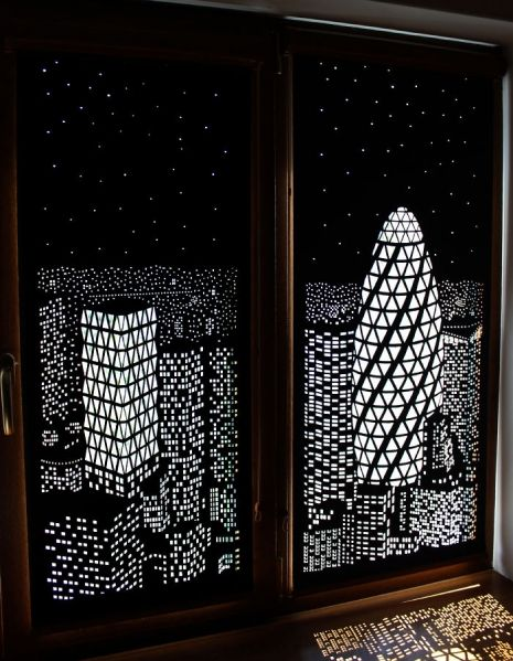 Ukrainian designers HoleRoll created these unique and wonderful blinds by cutting out small shapes in the fabric and letting pockets of light shine through.