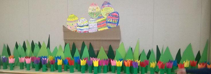 Pääsiäisen pajapäivä 2.lk tulppaanit. Perinteinen koristeltu pääsiäismuna hyvin väritettynä on ollut erittäin suosittu väliaika- ja oma työ