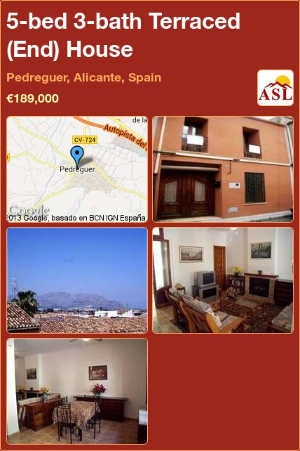 5-bed 3-bath Terraced (End) House in Pedreguer, Alicante, Spain ►€189,000 #PropertyForSaleInSpain