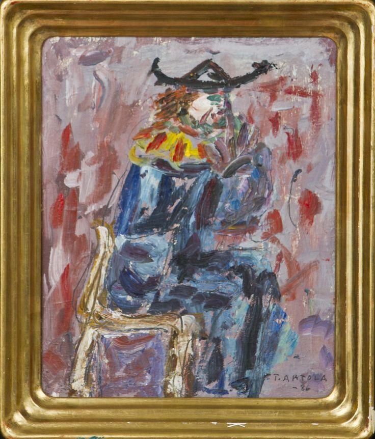 Taisto Ahtola: Istuva, öljy, 27x22 cm - Hagelstam A132