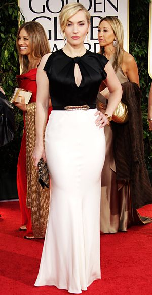 Kate Winslet chose a Swarovski crystal-embellished black and white gown from British designer Jenny Packham. Accents included a bejeweled clutch and Roger Vivier shoes.