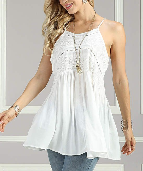 4fcbdce3a6b White Lace-Panel Sleeveless Tunic - Women & Plus. White is good for  Summer!!! #tunic #style #top #bohostyle #bohochic #fashion #plussizefashion  ...