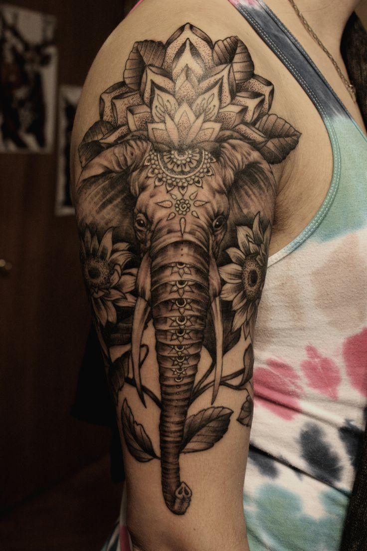 Elephant Sleeve Tattoo - http://giantfreakintattoo.com/elephant-sleeve-tattoo/