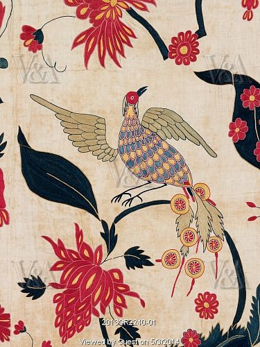 Wall hanging depicting birds and flowers, detail. Gujarat, India, early 18th century