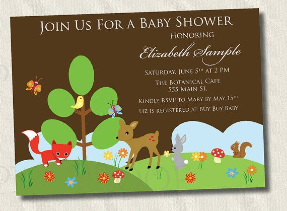 printable invitation woodland creature baby shower invitation boy girl neutral birthday party deer fox rabbit bird