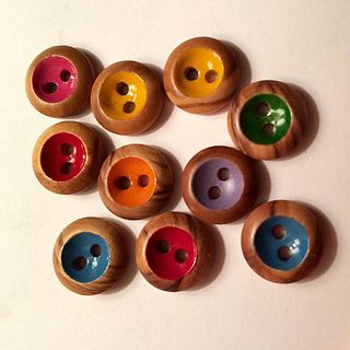 The buttons were wooden ones, painted with humbrol enamel paints :)