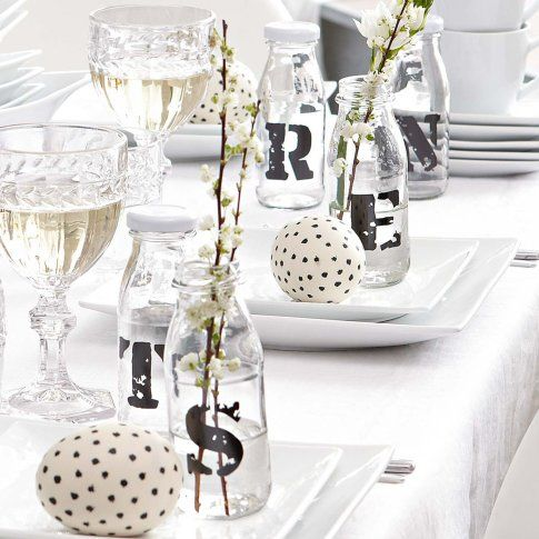 : OCCASION - Stencil your guests first initial onto glass bottles for place settings