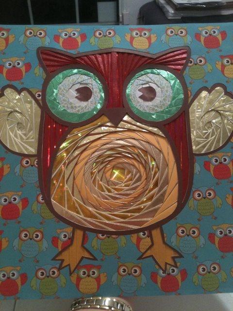 12x12 iris folded owl on canvas *Sold $100 www.facebook.com/tracysjoyfulpapercraft