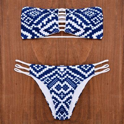 Blue and White Aztec Print Swimsuit Swimwear Bikini Set