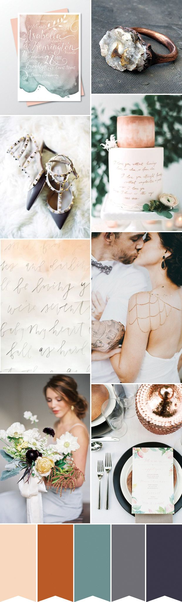 Contemporary and Chic | Copper and Watercolor Wedding Inspiration | see how to create the look on www.onefabday.com