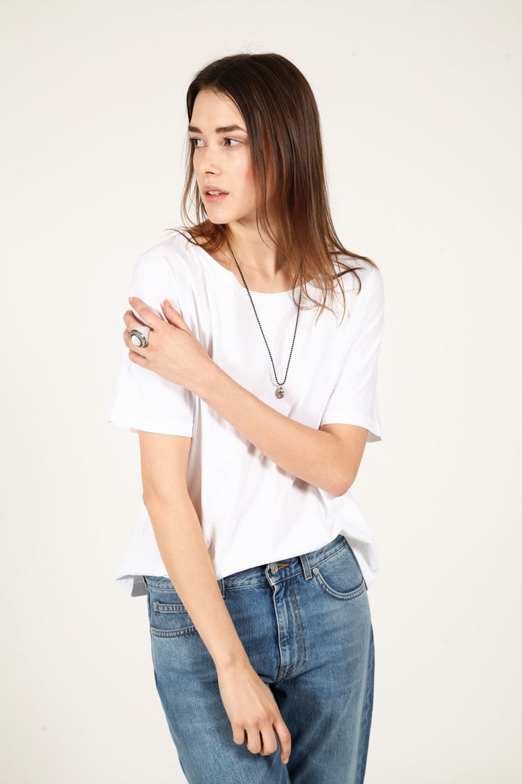 Jeans and tee.
