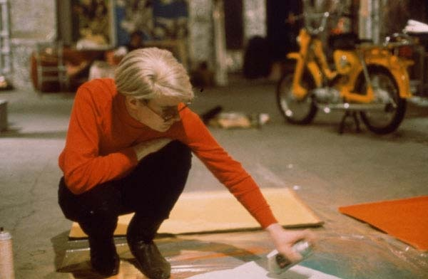 Fantastic shot of Warhol at work