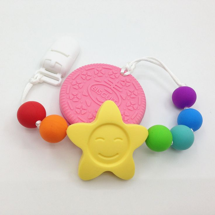 BPA free Silicone Teething Pacifier Clip - silicone Biscuits pendant Clips- sunflower Teether Toy  for teething babies #babyteether #teethingtoy #silicone #teether #bpafree
