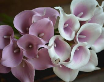 Pale Mauve Calla Lilies Real Touch Flowers for Silk Wedding Bouquets, Centerpieces, Wedding Decorations