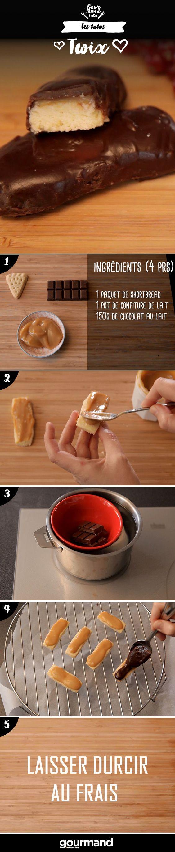On récapitule :  1. Étaler la confiture de lait sur les biscuits.  2. Réserver au frais.  3. Faire fondre le chocolat au bain-marie.  4. Déposer les biscuits sur une grille surélevée.  5. Faire couler le chocolat sur les biscuits en enrobant tous les côtés sauf le dessous.  6. Laisser durcir au frais.