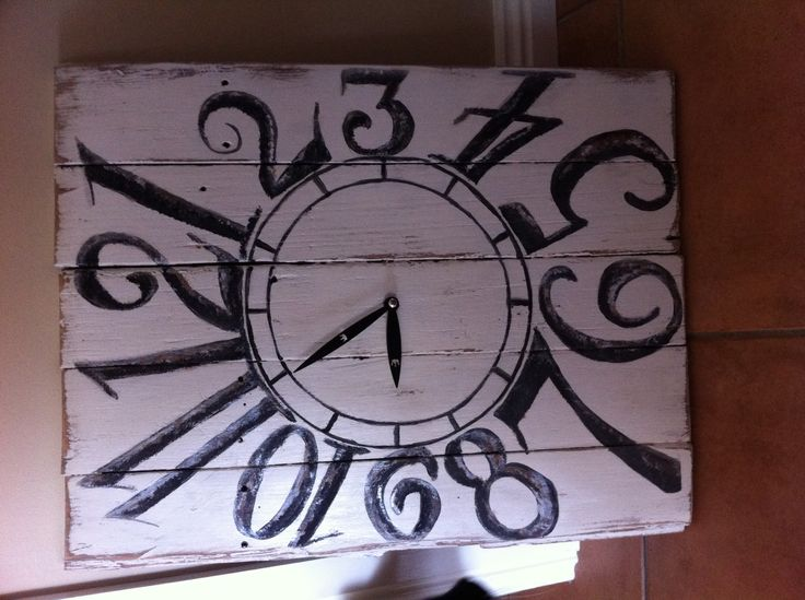 Clock made from old floorboards
