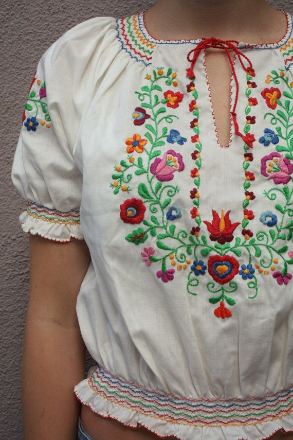 Vintage Hungarian Peasant Floral Embroidery by anthropolotique