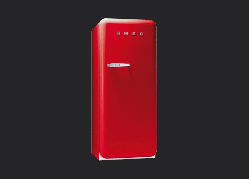 Smeg fridge - a pillar of color in a sea of stainless steel.  Who wouldn't welcome this into their homes?