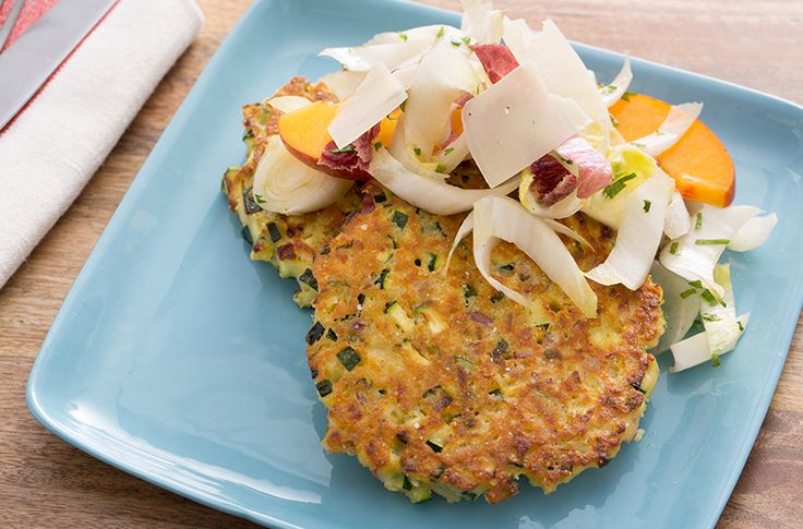 Zucchini Fritters with Endive, Nectarine & Parmesan Salad - Blue Apron Blog