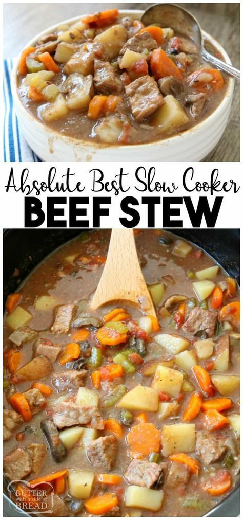 Crock Pot Beef Stew made with tender chunks of beef, loads of vegetables and a simple mixture of broth and spices that yields the BEST, easiest beef stew ever! Best #beefstew #crockpot recipe from Butter With A Side of Bread