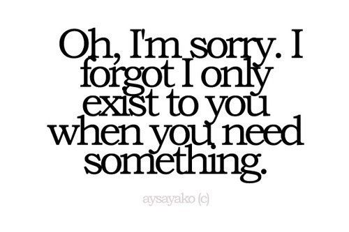 Oh, I'm sorry.  I forgot I  only exist to you when you need something.Thoughts, Life, Quotes, Funny, Truths, True, Things, People, Feelings