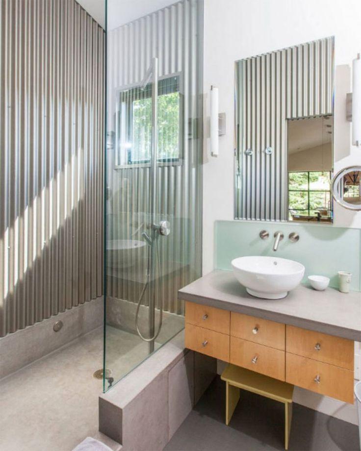เผยเทคน คการทำผน งบ าน ด วยว สด เมท ลช ท บ านไอเด ย เว บไซต เพ อบ านค ณ Bathroom Design Corrugated Metal Wall Bathrooms Remodel