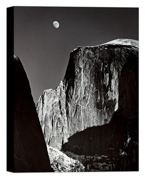 Adams Ansel Moon And Half Dome Yosemite National Park Canvas Wall Art Framed Print Various Sizes Ansel Adams Black And White Landscape Ansel Adams Photography