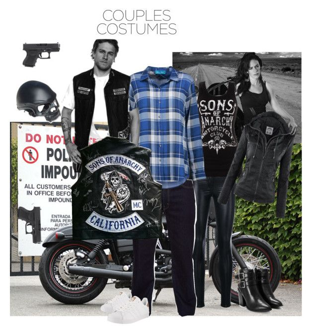 """""""Jax and Tara Couple Costume"""" by tinatoldme ❤ liked on Polyvore featuring Harley-Davidson, Sons of Anarchy, Versace, Nasty Gal, Levi's, M.i.h Jeans and adidas"""