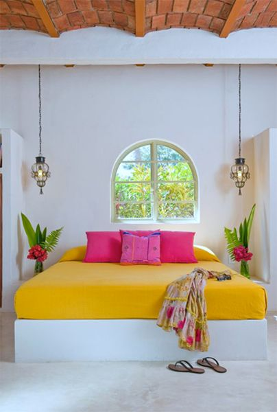 Accentuate your bedroom by placing a few accents in the room strategically. An antique hand-stitched Indian bedspread with beading and gold thread work will transform your bedroom into a vibrant space. Lend a burst of color to your bedroom by throwing in some patchwork pillows made from rich silk. Ensure that the colors of the pillows complement the color of your walls. #interiorstyling #interiordesigner #interiors #interiordecor #interior4all #interiorandhome Image Source…