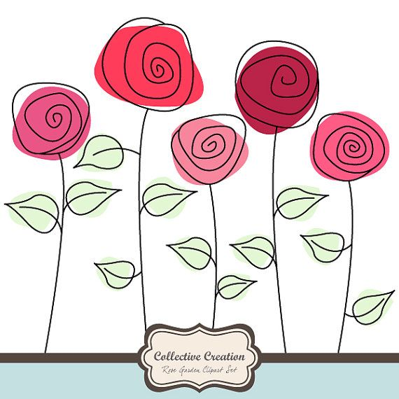 Jardin de Rose sauvage Clipart Set - idéal pour le Scrapbooking, Cardmaking et artisanat en papier