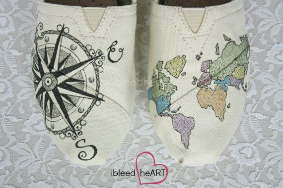 World Travel Compass TOMS Shoes with Colored Map  by ibleedheART