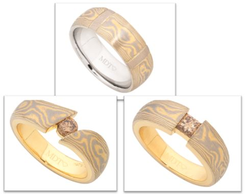 Mokume Gane is an old Japanese technique which was used for sword making and is a combination of two tone metal originally using steel but we have incorporated that technique using either 18ct white gold and yellow gold or 18ct white gold and rose gold that gives a very unique pattern on each ring and make it very personal.