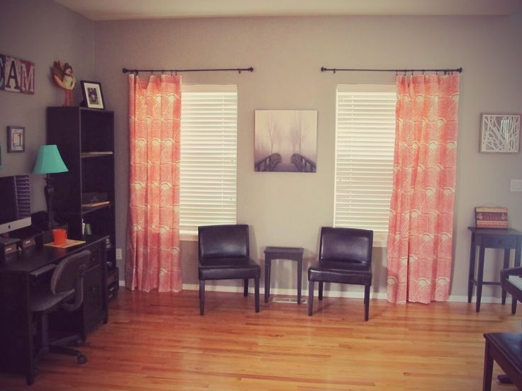 Orange, Turquoise, And Gray Office (Threshold Coral Curtains From Target)