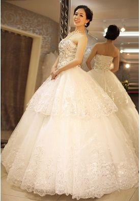 Exquisite Ball Gown Sweetheart Floor-Length Rhinestones Wedding Dress
