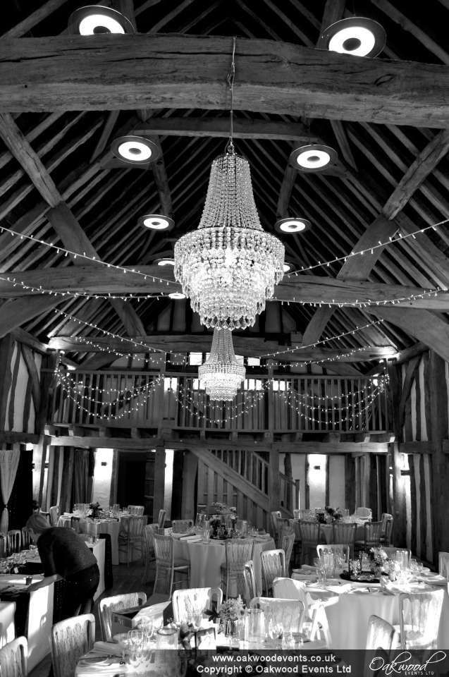 Pair of crystal style candeliers by Oakwood Events Ltd, with fairy lights, at the Tudor Barn Burnham