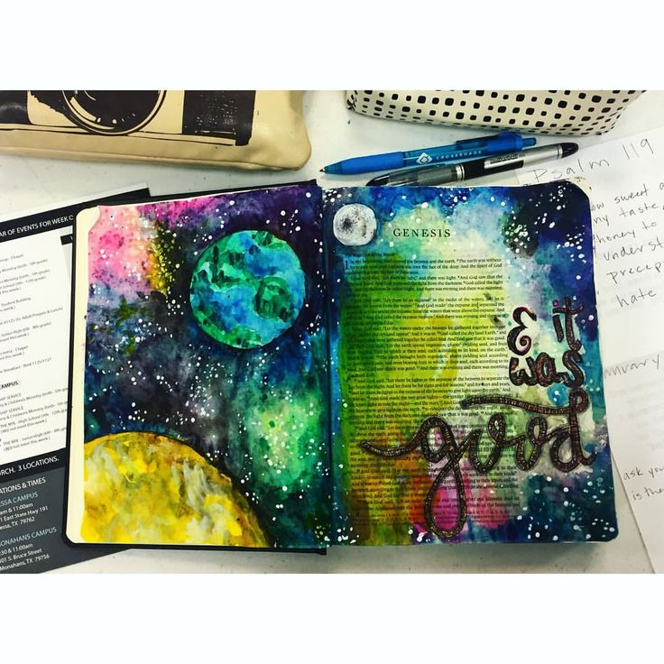 "Bible Journaling. I probably drooled over several hundred of these in the past year, but I finally buckled and bought myself one! I bought it, got it home, opened it up and just thought to myself, ""where do I start?"" And I figure that's a question for many people when they look at the Bible. Where do you start..? Well, where better to start than the beginning. God created the universe, and it was good. #Genesis #biblejournaling #BibleTime #sunday #paint #painting #watercolor…"