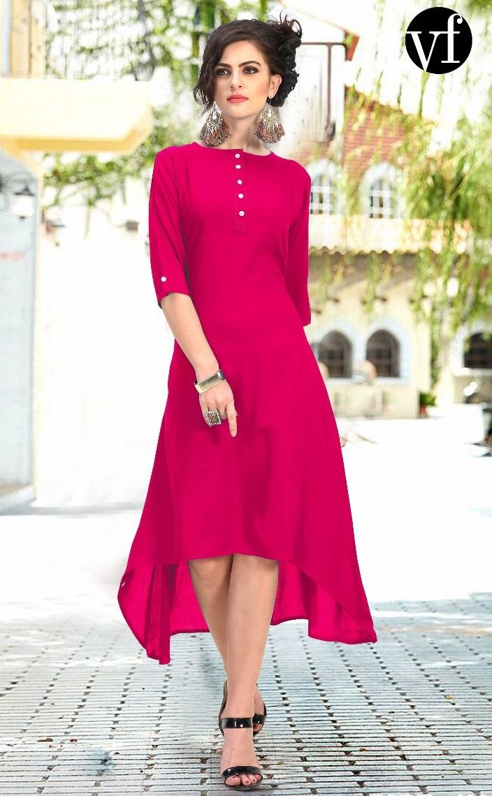4e78b87426 VF Plain Up Down Rayon Kurtis ( 7 pc catalog ) | Wholesale Cotton ...