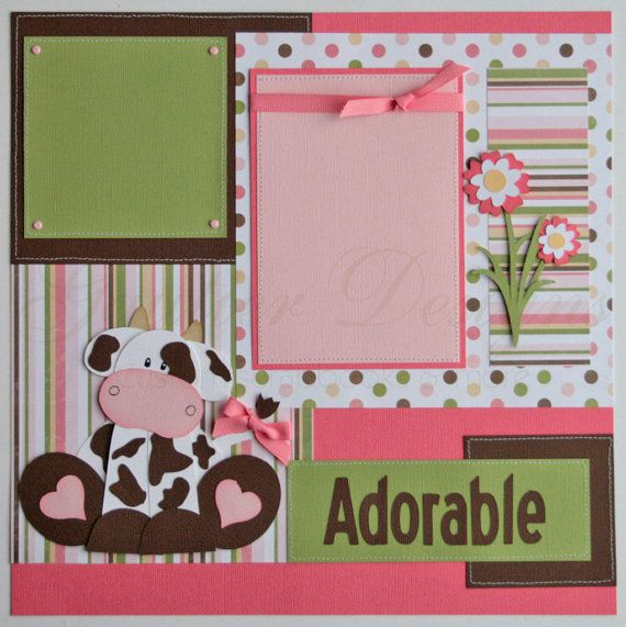 scrapbook pages - Udderly Adorable -baby girl -cows- 12x12 premade scrapbook pages