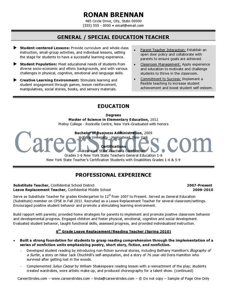 Elementary Teacher Resume Examples http//www