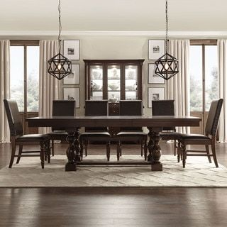 Tribecca Home Flatiron Baluster Extending Dining Set (5 Piece Set With Grey  Linen Chairs)