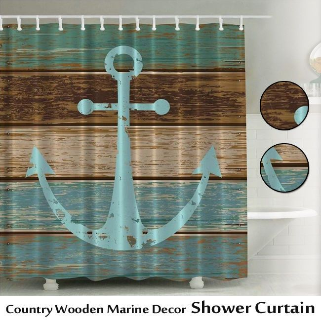 Brown Shower Curtain Country Wooden Marine Blue Ocean Bathroom Rustic Bath Decor #Yiger #RusticPrimitive
