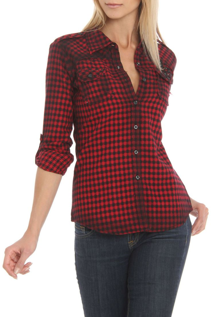 Riley Button Down Shirt in red by Roar $105 - $35 at BeyondTheRack.  Features snap button closures at front Rolled sleeves Flap pockets at chest Model Is Wearing Size: Small Composition: 100% Cotton