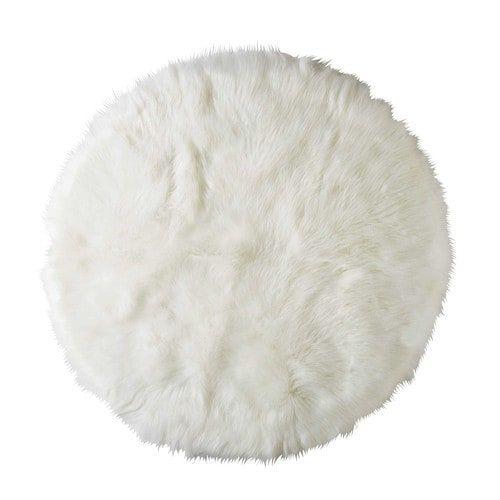 Tapis rond en fausse fourrure blanche D.140cm FURIL